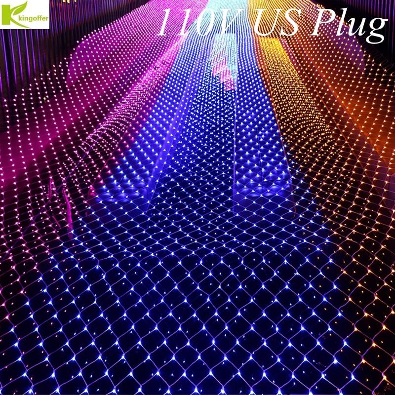 Kingoffer LED Net Christmas Lights 1.5 x2M 120 LEDS Outdoor Decor 110V US Plug Waterproof LED Fish Net String White,RGB,Red,Blue подвесной светильник leds c4 net 00 0643 bw m1 dimmable