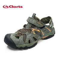 Clorts 2015 New PU Men Sandals Outdoor Platform Shoes Summer Male Beach Shoes Soft Leather Integrated
