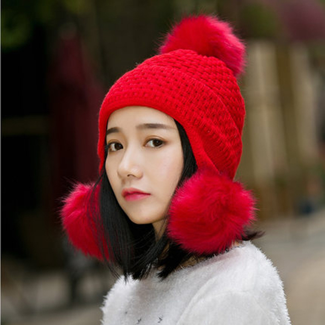 Women's Autumn and Winter Hat Fashion All-match Women Winter Hats Female Thermal Protector Ear Cap Thickening Plus Velvet