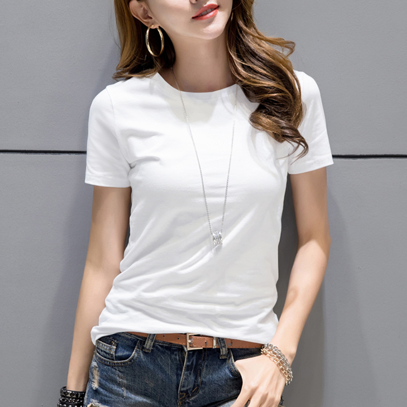 Female T Shirt Short Sleeved Summer New Korean All Match -8386