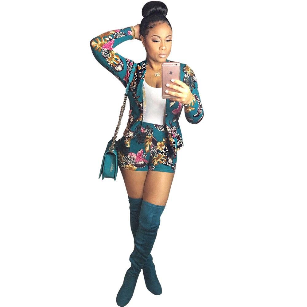2017 Spring Autumn European Style Fashion Sexy Flower Print Full Sleeve Blazer Women Plus shorts pants two sets