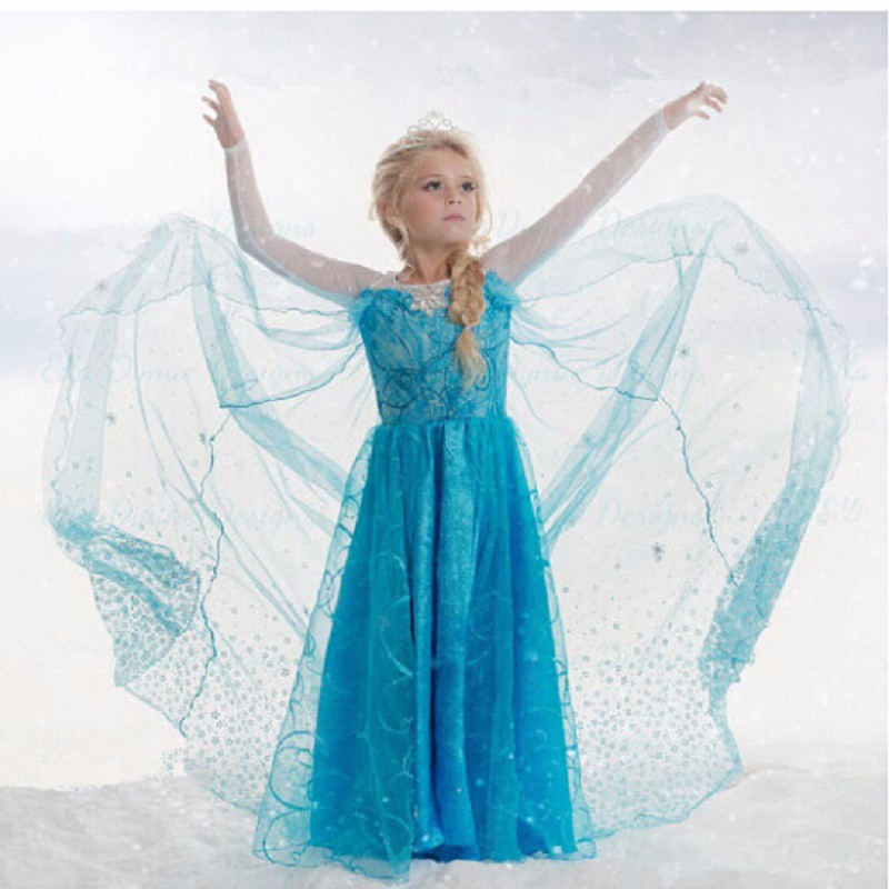 CaGiPlay Free shipping Retail Baby Girls dress New girls Elsa & Anna Dress For Girl Princess Dresses party costume free shipping