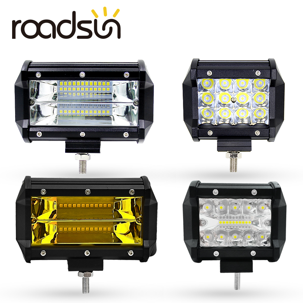 Roadsun Car Spot Lamp 12V 6000K 4 5 Inch 60W 36W 72W White Yellow LED Work Light Bar For Working Refit Off-road Vehicle Roof