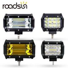 Roadsun Auto Lampada del Punto 12 V 6000 K 4 5 Pollici 60 W 36 W 72 W Bianco LED Giallo luce del lavoro Bar per Lavorare Refit Off-road Del Veicolo Tetto