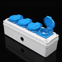 IP44 Weatherproof Waterproof Outdoor Wall Power Socket 16A Four Socket German Standard Electrical Outlet AC 250V high quality ac 380 415v 16a ip44 3p e multiple outlet iec309 2 industrial socket mmvvm