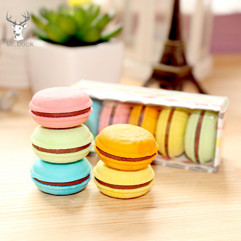 5Pcs/box Mini Rubber Eraser Cute Macaron Cake Eraser School Stationery Office Supplies Party Favors For Kids Birthday