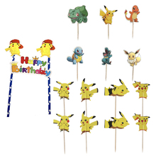 Cartoon Pokemon figures Pikachu candy bar Cupcake toppers with Sticks Baby Shower party supplies Birthday Party Decoration kids
