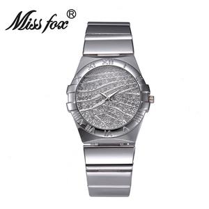 Image 2 - Miss Fox relojes de muñeca para mujer, reloj de lujo para mujer, dorado con piedras, marcas famosas con logotipo con moda, relojes casuales, 2017