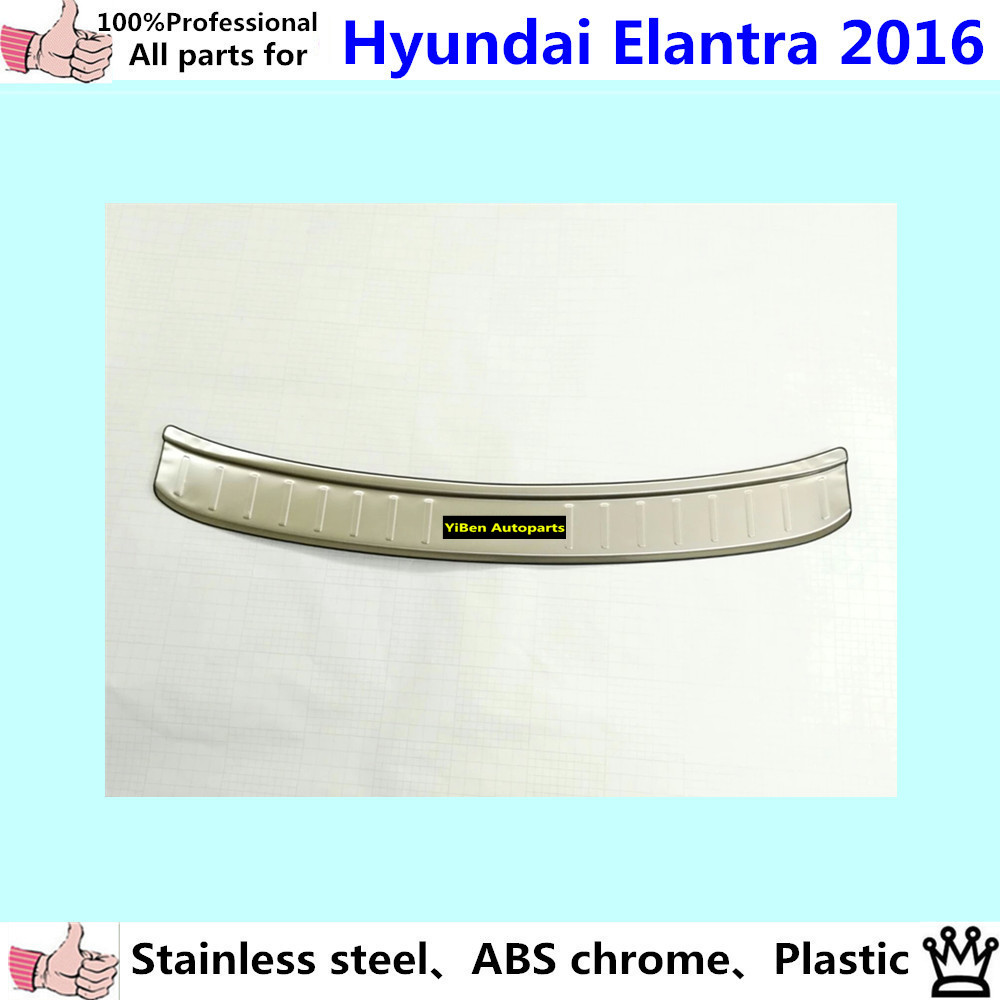 Car External outside Rear Bumper trim Stainless Steel Scuff plate pedal cover  *luxurious*1pcs for Hyundai Elantra Avante 2016 stainless steel led scuff plate door outside sills trim car accessories welcome pedal for ford kuga 2013 2014