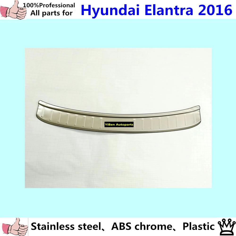 Car External outside Rear Bumper trim Stainless Steel Scuff plate pedal cover  *luxurious*1pcs for Hyundai Elantra Avante 2016