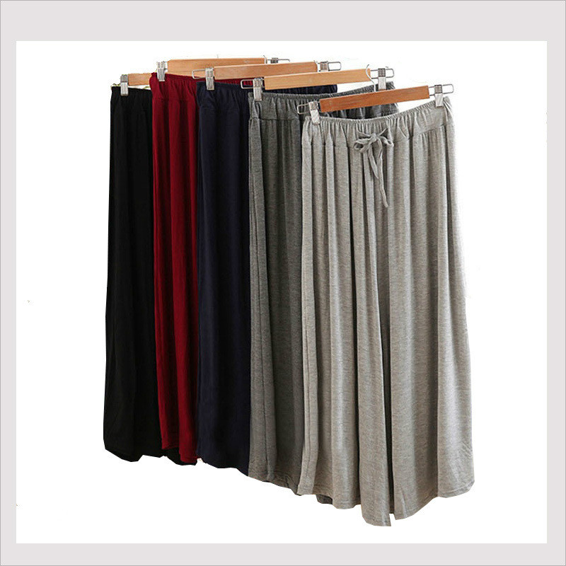 Women's trousers modal   wide     leg     pants   casual sports   wide     leg   trousers skirt high waist nine points large size   pants