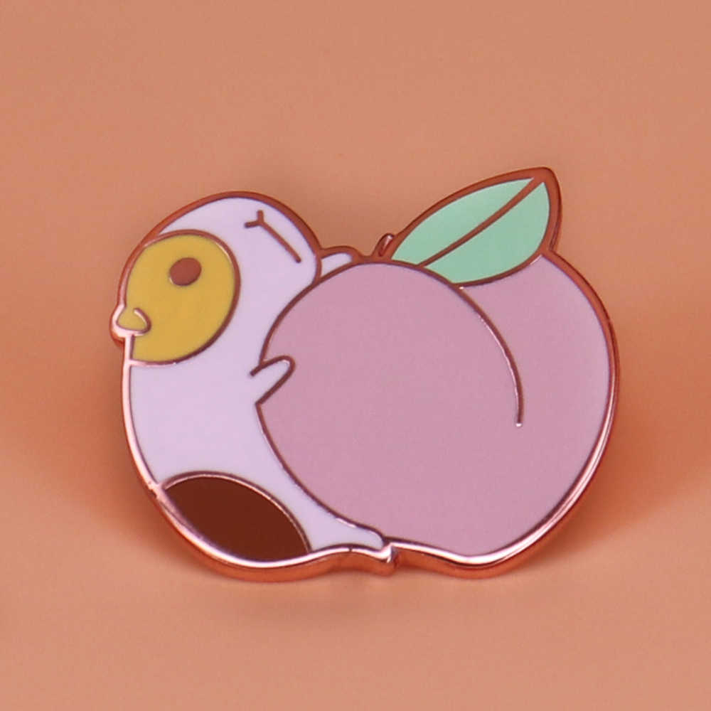 Hamster carry peach enamel pin cute animal brooch funny guinea pig badge  sweet fruit jewelry small pet gifts for her