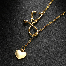 1 Pc 2017 Newest Medical Doctor Nurse Heart Stethoscope Cardiogram Pendant Chain Necklace Jewelry Pendant Necklace