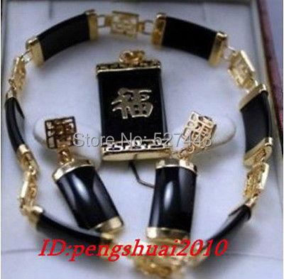 "Wholesale JWEW6553 >>charming 14KGP Chinese blessing black stone pendant bracelet 7.5"" earring sets"