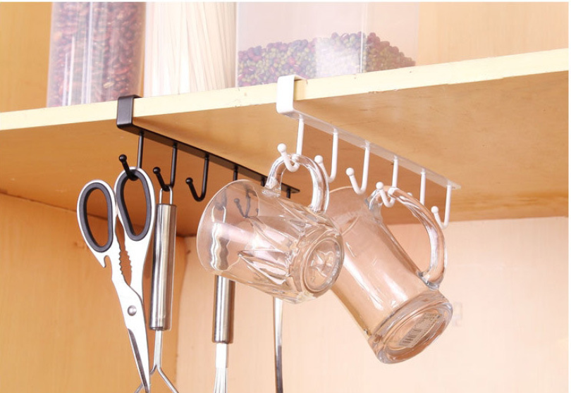 Permalink to 6 Hooks Cup Holder Iron Hanging Hook Kitchen Cabinet Storage Rack Shelf Towel Storage Rack Organiser