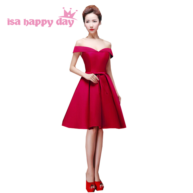 short beautiful teenage bridesmaid dress dark red satin