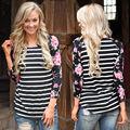 New 2016 Autumn Winter Tops Women Patchwork Long Sleeve Sexy Casual T-shirt Striped Print Slim T-shirt Flowers printing Vestidos