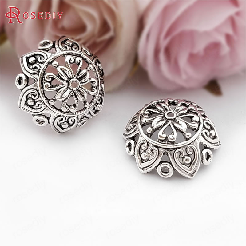 (31599)10PCS 25MM,height 9MM Antique Silver Zinc Alloy Big Beads Caps Tassel Caps Diy Jewelry Findings Accessories Wholesale