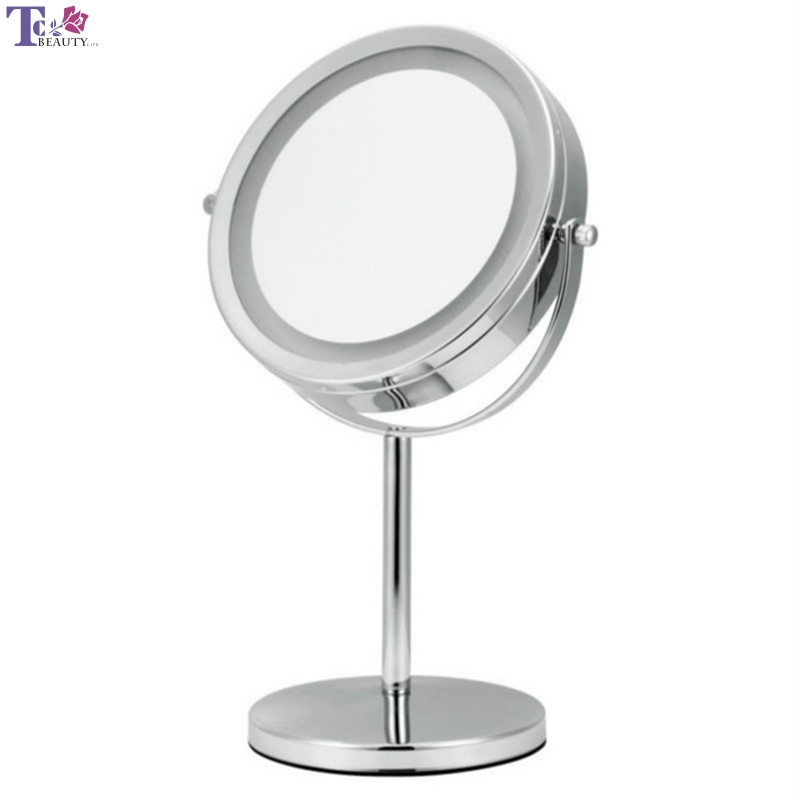 Makeup Mirror LED Double-Sided Magnifying Table Lamp 2018 New Folding Portable 7-inch Silver Iron Titanium Dressing Mirror цены онлайн