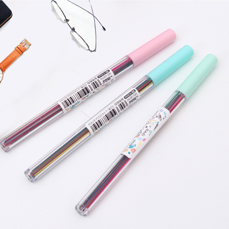 1box 0.5mm Colored Mechanical Pencil Refill Lead Erasable Student Stationary Sa