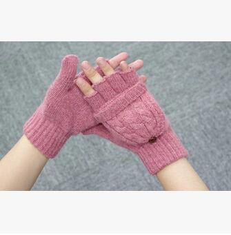 1pair/lot free shipping fashion style lady wrist gloves woman woolen cotton mitten with cover 4colors