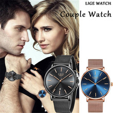 Couple Watches LIGE 2019 Top Brand Luxury Mesh Stainless Ste