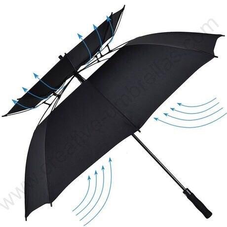 132 centímetros reais visíveis das camadas dobro estrutura de ventilação anti-trovão fibra de vidro auto abrir guarda-chuva de golfe à prova de vento anti estática