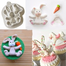 3D RABBIT Easter Bunny Silicone Mould Fondant Cake Molds Cupcake Tools Confeitaria Kitchen Accessories FM1154