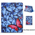 Blue Butterfly Pattern PU Leather Full Body Case with Stand for iPad mini 1 2 3