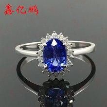 1กะรัตแหวนไพลินธรรมชาติหญิงเพชร18พันสีขาวเครื่องประดับทองไดอาน่าเงิน