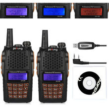 2PCS For Baofeng UV-6R Walkie Talkie + Cable USB Vhf Uhf Emisora Transceptor Radio PMR
