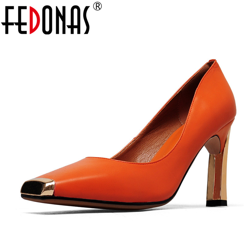 FEDONAS 2020 New Women Shoes Basic Style Fashion High Heels Metal Square Toe Office Career Shallow
