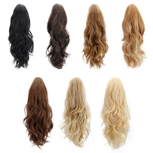 hot deal buy synthetic claw clip on ponytail extensions hair pieces long wave clip in human hair extensions heat resistant ponytail wigs 150g