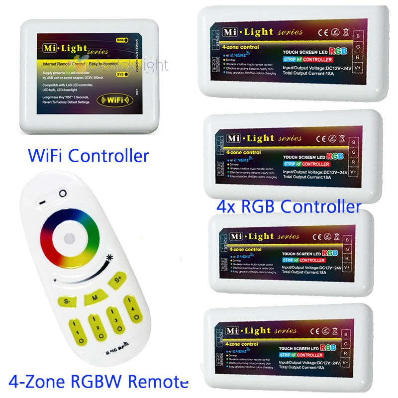 2.4G Wireless RF Touch Remote +4x RGB LED Controller  4-Zone group control+Wifi Adapter For RGB Led Strip Light Lamp Bulb milight remote wifi 4x rgbw led controller group control 2 4g 4 zone wireless rf touch for 5050 3528 rgbw led strip light