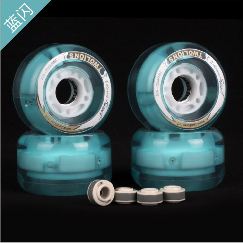 2pcs Bright 72*44mm Free Line Skates Wheels LED Flash Drift Board Rodas 82A PU Skateboard Wheel Wear Resistance Longboard Wheel