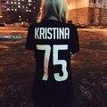КРИСТИНА 75 Смешное Письмо Печати футболка Женщины Сексуальное Tumblr Топы Костюмы Пуловер Летний Стиль с коротким рукавом тис футболки