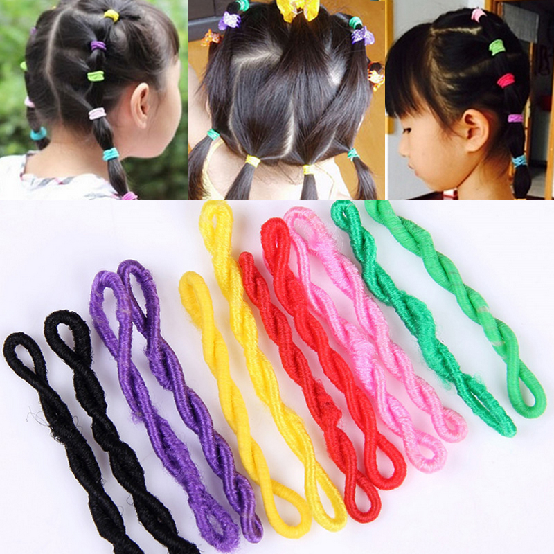 Fashion 10 Pcs/Lot Elastic Hair Bands Girls Colorful Cute Rubber Elastic Ponytail Holder Hair Rope Hair Accessories