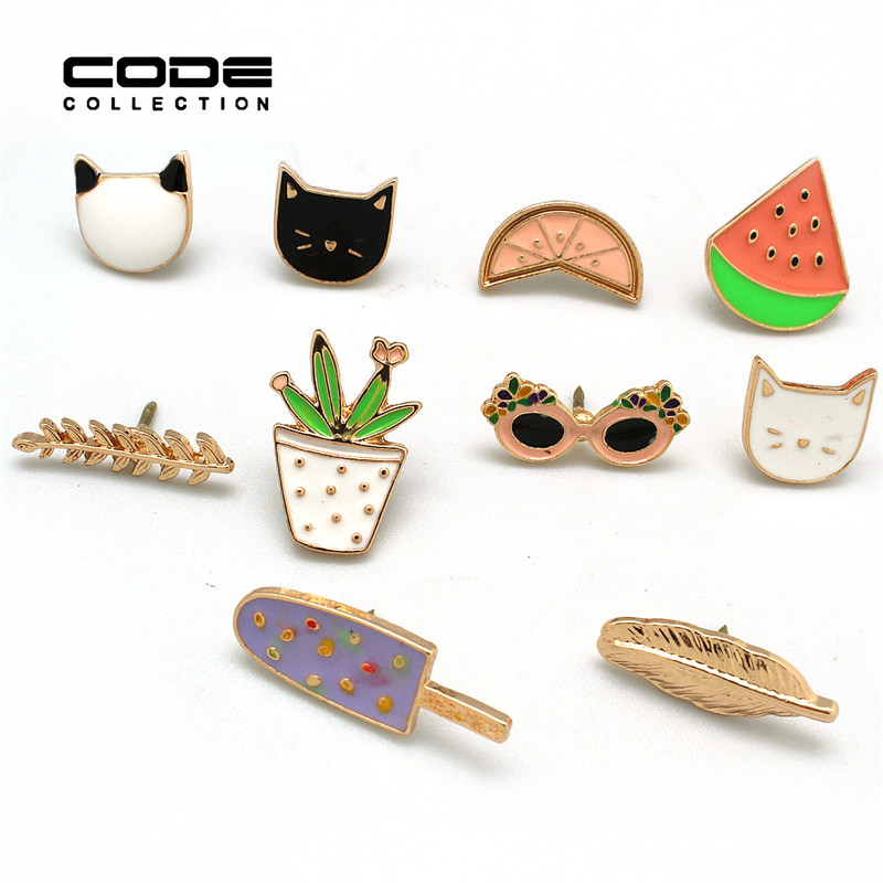 10pcs/set Cute Cartoon Enamel Brooches Fruit Cat Sunglass Leaf Orange Ice cream Watermelon Brooch Pins,Fashion Jewelry Wholesale