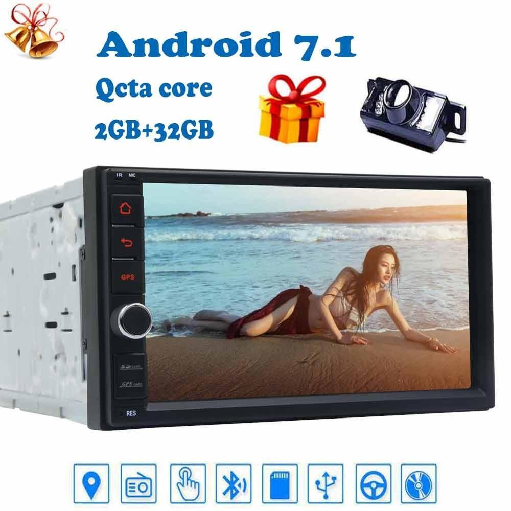 Камера заднего вида + 2 Din Android 7,1 Автомагнитола автомобильное радио стерео автомобильное радио с GPS в тире 7 автомобильный ПК блок FM/AM RDS радио