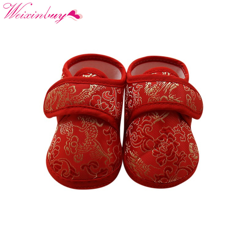 Kids Classic Chinese Style Newborn Cotton Soft Autumn Warm Cozy Bottom First Walkers Baby Cack Shoes