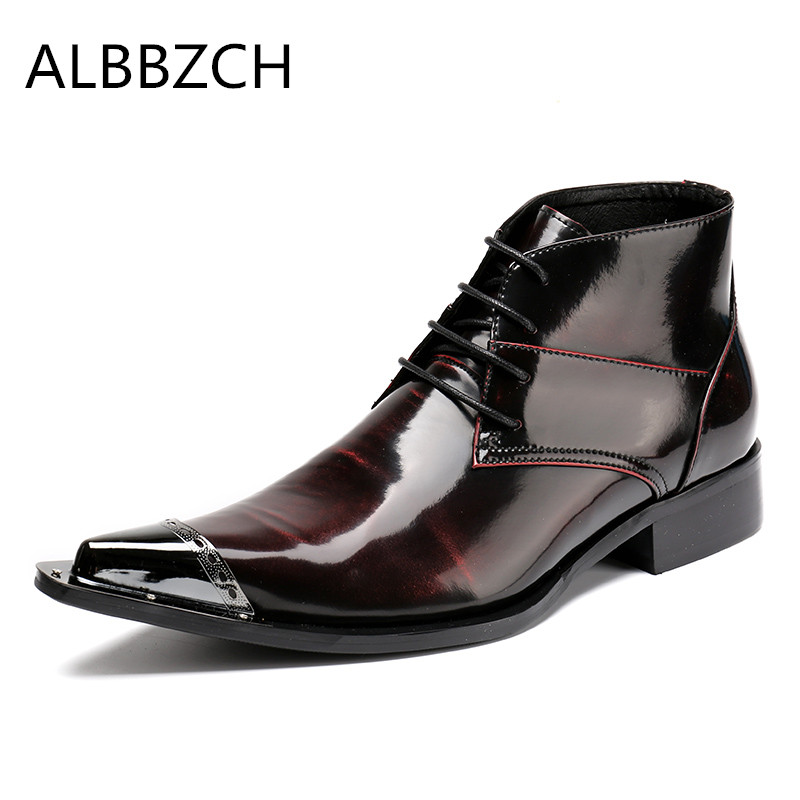 New patent leather men boots fashion metal pointed toe lace up men's ankle boots western cowboy work boots big yards 45 46 US12