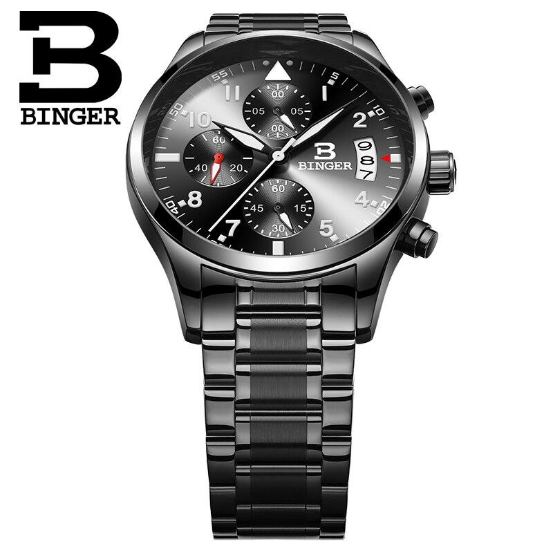 BINGER Brand New Men Luxury Quartz Watch Stainless Steel Fashion Leather Waterproof Luminous Sports Watches Relogio