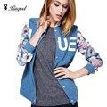 2017 New Fashion Korean Style Women Jeans Baseball Coats Women Flowers Printing Pattern Jackets Stitching Denim Jacket Coats