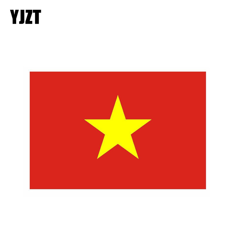 YJZT 14.9CM*9.9CM Vietnam Flag Car Sticker Reflective Funny Car Styling Decal 6-0469