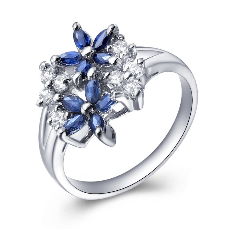 Natural Sapphire Night Blue Ring 925 Sterling silver Flower Woman Fashion Fine Elegant Jewelry Birthstone Gift SR1520S natural pink ruby ring flower in 925 sterling silver fancy sapphire jewelry fashion elegant luxury birthstone gift sr0159r