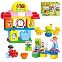 57pcs Duplo City Mall 슈퍼마켓 과일 스토어 빌딩 블록 DIY City Mall 어린이 게임 어린이를위한 교육 완구