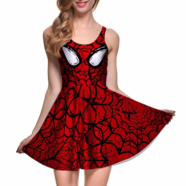 529c966a8a1e4 S To 4xL Sleeveless Cosply Spiderman Print Above Knee Women Red Dresses  Vestidos Sexy Plus Size Pleated Dress