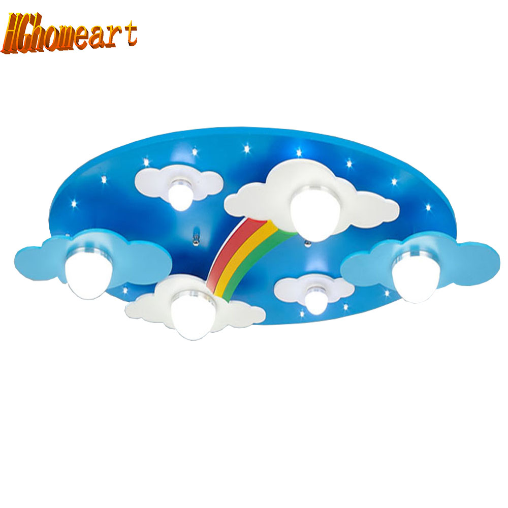 HGhomeart  Ceiling Lights Bedroom Room E27 Lamp110V-220V Kids Ceiling Lamps American Retro Style Acrylic Shade Rainbow Fixtures hghomeart kids led pendant lights basketball academy lights cartoon children s room bedroom lamps lighting