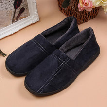Cover Heel Slippers Winter Indoor Cotton Slippers Men Warm Plush Home Shoes Plush Slipper Rubber Sole doug shoes