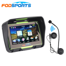 Fodsports 4.3 Inch 256MB 8GB motorcycle navigation motorbike IPX7 GPS navigator waterproof with bluetooth headset free map